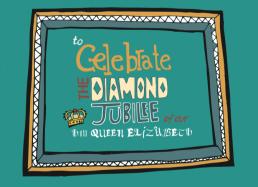 charlotte overton itchypalm graphic design, diamond jubilee, illustration, vector typography design