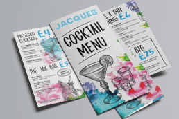 graphic design- menu design- print- matt laminate-tri-fold-doncaster bar
